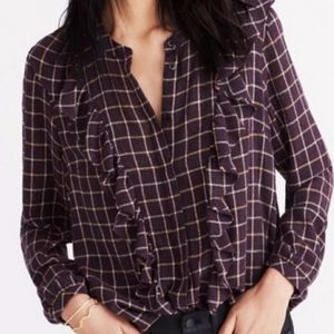 Madewell Plaid Ruffle-front Top Wool Blend